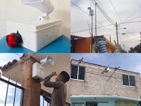 Instalación de alarmas vecinales en San Esteban Ecatitlán